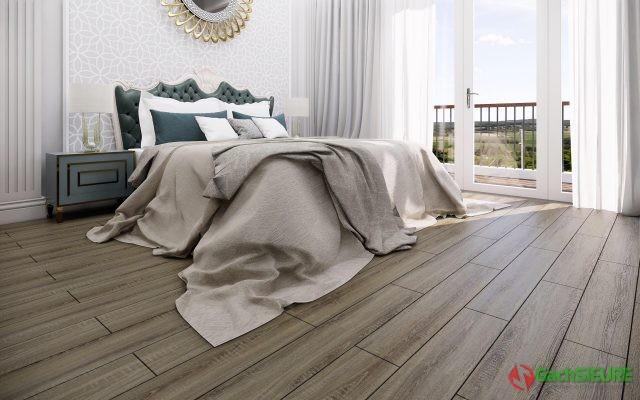 Không gian phòng ngủ khi lát gạch giả gỗ