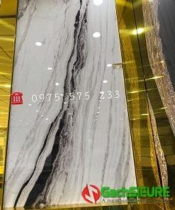 Gạch bóng kiếng 120×240 khổ lớn đá Marble trắng vân đen