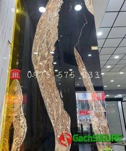 Gạch Bóng Kiếng Khổ Lớn 120×240 Đá Marble Trắng Vàng