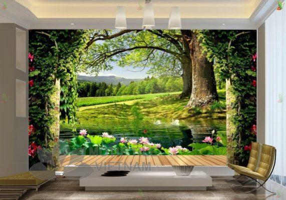 Trang trí phòng khách thêm sang trọng nhờ gạch tranh trang trí