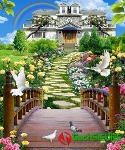 Bức gạch tranh phong cảnh nhà biệt thự chim bồ câu đẹp nổi bật 183