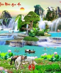 Bức tranh gạch đá thiên nhiên giao hòa phong cảnh nổi bật đẹp nhất 180