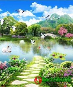 Gạch tranh cảnh thiên nga bơi dưới hồ nước cảnh vật thiên nhiên đẹp 176