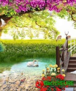 Gạch tranh dán tường trang trí cảnh vật thiên nhiên đẹp 168