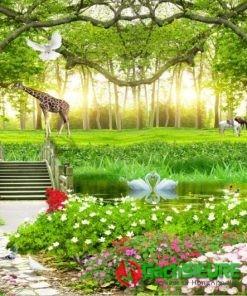 Gạch tranh phong cảnh hươu cao cổ giữa rừng cây cảnh đẹp 174