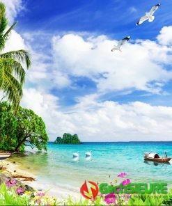Mẫu gạch tranh 3d phong cảnh bãi biển 191