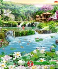 Mẫu gạch tranh dán tường hoa sen giữa hồ cảnh đẹp thiên nhiên 188
