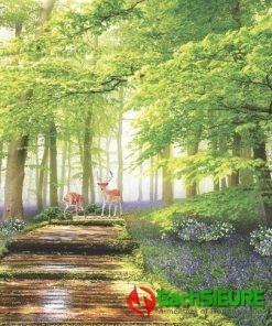 Mẫu gạch tranh phong cảnh hươu sao giữa rừng cảnh thiên nhiên đẹp 190