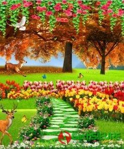 Gạch tranh dán tường 3d phong cảnh hươu sao giữa vườn hoa 170
