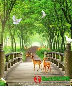Gạch tranh phong cảnh những chú hươu sao giữa rừng cây 173