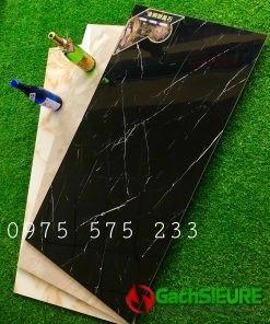 Gạch lát nền dán mặt tiền 60×120 đen tia chớp vân trắng siêu bóng cao cấp