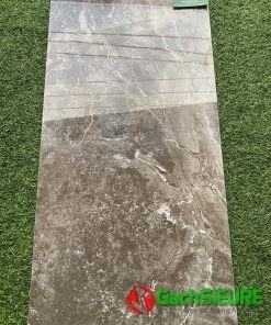Gạch ốp tường 40×80 vân đá nâu khắc kim siêu bóng ấn tượng cao cấp