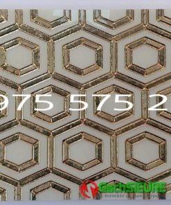 Gạch ốp tường trang trí 30×60 lục giác khắc kim nhũ vàng đẹp cao cấp