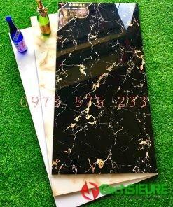 Gạch siêu bóng 60×120 đen vân tia sét vân cam ốp mặt tiền lát nền cao cấp bền đẹp