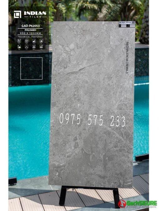 Gạch 60×120 vân đá màu xám bóng kính ấn độ