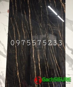 Gạch ấn độ 160×320 đen vân vàng mạ bóng kính